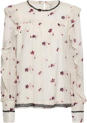 Joie Ruffled Embellished Jacquard Blouse