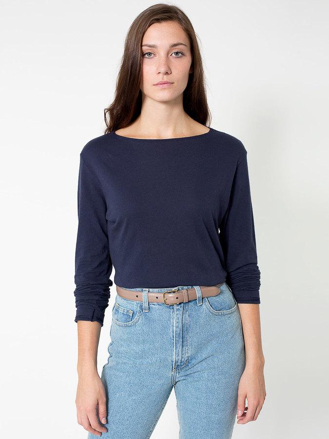 American Apparel Unisex Long Sleeve Boat Neck Shirt