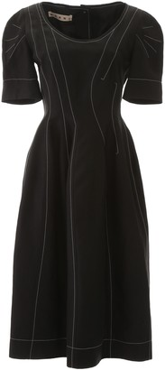 Marni Contrasting Stitches Flared Dress