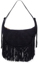 Elizabeth and James Zoe Woven Suede Hobo Bag, Navy