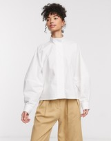 Weekday Noelle covered button shirt in white