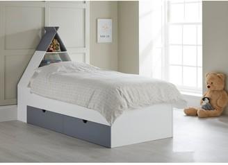 Lloyd Pascal Teepee Bed With Storage Headboard - Grey/white