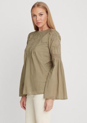 Ralph Lauren Embroidered Bell-Sleeve Top
