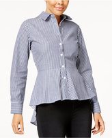 Say What Juniors' Cotton Peplum-Hem Striped Blouse