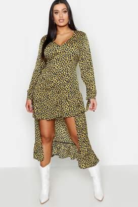 boohoo Plus Leopard Ruffle Step Hem Maxi Dress