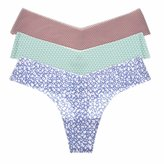 La Isla Women's 3-Pack Sexy Printed Seamless Soft Low Rise Thong Panty Mixed 3 Pack S