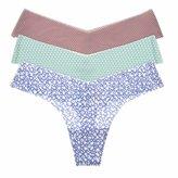 La Isla Women's 3-Pack Sexy Printed Seamless Soft Low Rise Thong Panty XL