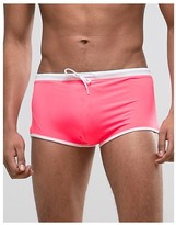 Asos Swim Hipster Trunks In Pink With Contrast Waistband