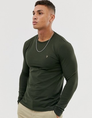 Farah Southall super slim fit logo long sleeve t-shirt in green