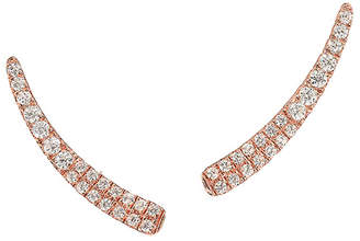 Graziela Gems Curve Rose Gold Over Silver 0.43 Ct. Tw. Natural White Zircon Ear Climbers
