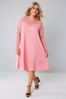 Yours Clothing Candy Pink Swing Dress With Lace Yoke & Sleeves