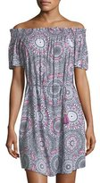 Seafolly Off-the-Shoulder Printed Coverup Mini Dress