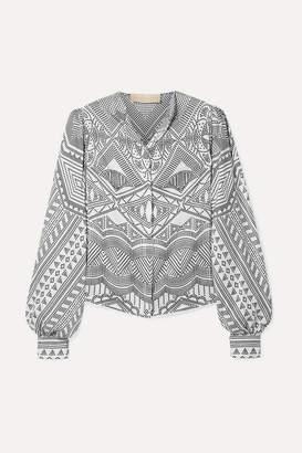 Antonio Berardi Printed Silk-twill Shirt - White