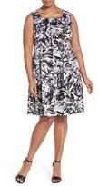 Ellen Tracy Plus Size Women's Print Stretch Cotton Fit & Flare Dress