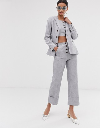 Fashion Union button front high waisted trousers co-ord-Grey