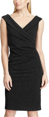 Chaps Women's Sparkly Surplice Sheath Dress