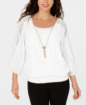 JM Collection Textured Crochet-Sleeve Necklace Gauze Top, Created for Macy's
