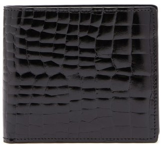 Maison Margiela Logo-stitch Crocodile-effect Leather Wallet - Mens - Black