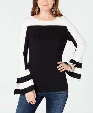 INC International Concepts Inc Petite Colorblock Bell Sleeve Sweater, Created for Macy's
