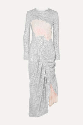 Preen by Thornton Bregazzi Wilda Ruched Lace-paneled Sequined Tulle Dress - Silver