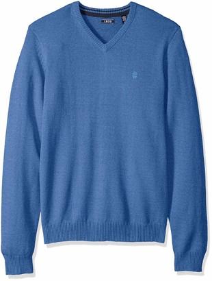 Izod mens Premium Essentials Solid V-neck 12 Gauge Pullover Sweater