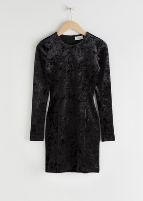 And other stories Fitted Crushed Velvet Mini Dress