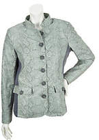 Dennis Basso Stand Collar Jacket with Ponte Knit Side Panel