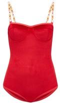 Ami Muse Studio - Beaded Velvet Bodysuit - Womens - Red