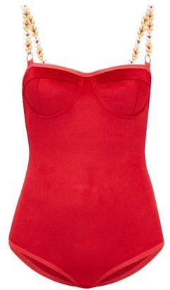 Ami Muse Studio - Beaded Velvet Bodysuit - Womens - Red