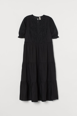 H&M Eyelet Embroidery-detail Dress - Black