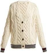 Saint Laurent V-neck aran-knit wool cardigan