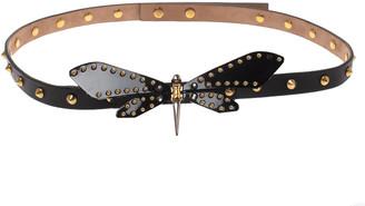 Gucci Black Leather Studded Dragonfly Skinny Belt 75CM