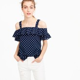 J.Crew Polka-dot cold-shoulder top