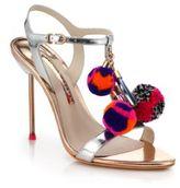 Sophia Webster Layla Metallic Leather Pom-Pom Sandals