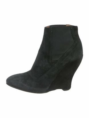 Alaia Suede Wedge Booties Black