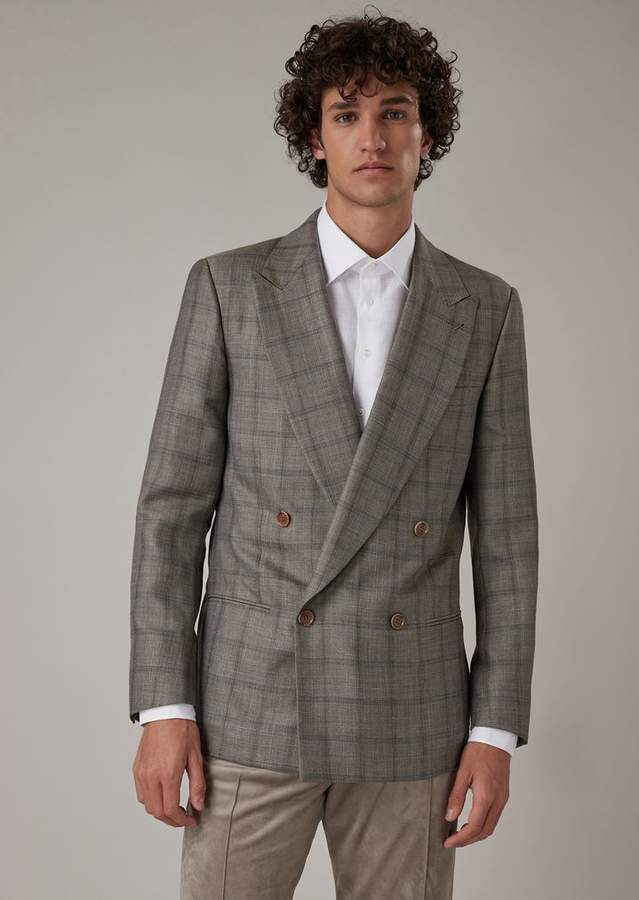 b3ce47efda Regular-Fit Double-Breasted Jacket In Checkered Serge