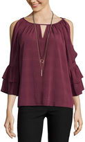 BY AND BY by&by 3/4 Sleeve Boat Neck Chiffon Blouse-Juniors