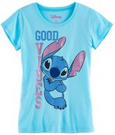 "Disney Disney's Stitch Girls 7-16 ""Good Vibes"" Glitter Graphic Tee"