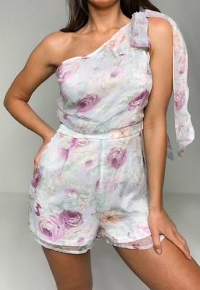 Missguided Floral Print Tie Shoulder Organza Playsuit