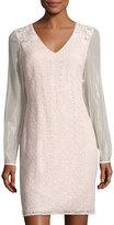 Kay Unger New York Sequined Lace Sheath Dress, Blush