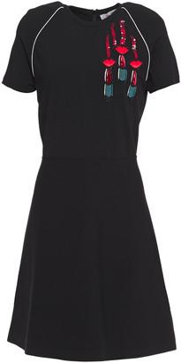 Valentino Flared Appliqued Ponte Mini Dress