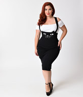 Unique Vintage Plus Size Retro Style Black Cat Sabrina Suspender Skirt