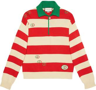 Gucci Embroidered striped knit polo
