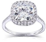 Kobelli Jewelry 3 CT TW Forever Classic Moissanite and Diamond 14K Gold Cushion Cut Engagement Ring