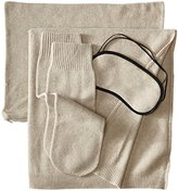 Sofia Cashmere 100% Cashmere Jersey Travel Set with Blanket, Eye Mask, and Socks