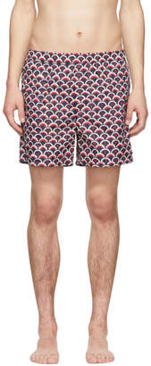 Valentino Navy and Red Scale Swim Shorts
