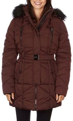 Nicole Miller Women's Faux-Fur Hood Belted Puffer Jacket