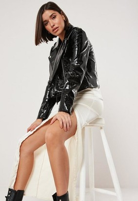 Missguided Petite Black Faux Croc Boxy Biker Jacket