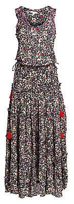 Poupette St Barth Women's Bety Fringe Floral Long Flare Dress