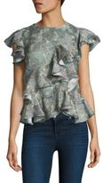 Rebecca Taylor Serra Sleeveless Silk Ruffled Top